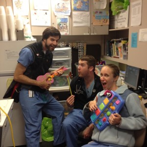 3 am in the Peds ED. Tommy (left), stopped by after his shift in the adult ED to say hello to fellow residents Jack and Carolyn.